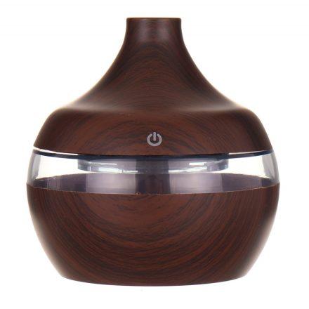 Ultrahangos légnedvesítő, aroma diffúzor, diófa színű, 300 ml, led fénnyel, ultracsendes, USB