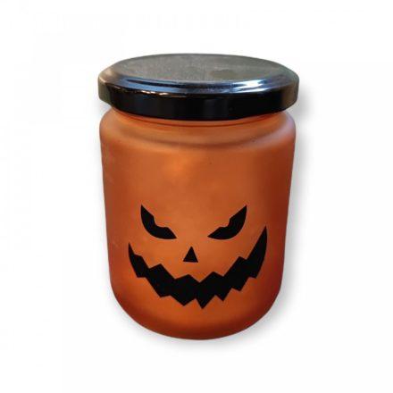 Halloween  LED mécses üvegben narancs TÖKLÁMPÁS 1 db CR2032 elemmel