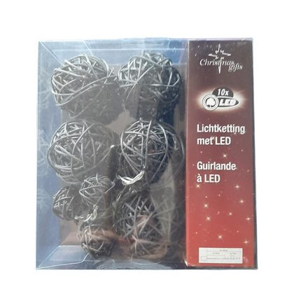 Karácsonyi fényfüzér 10LED rattan gömbök, elemes