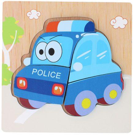 Fa puzzle, kirakó, rendőrautó 15x15 cm