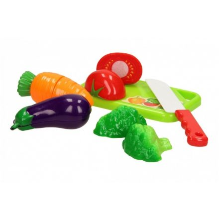 Játék zöldség szeletelő készlet (vágódeszkával, késsel) műanyag