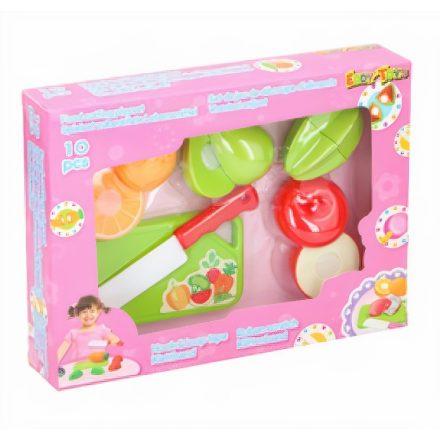 Játék gyümölcs szeletelő készlet (vágódeszkával, késsel) műanyag