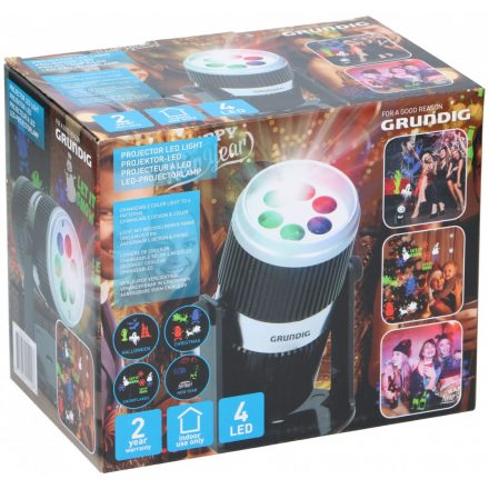 Projektor LED 4 féle mintával(1 db Halloween, 2 db Karácsonyi, 1 db Szilveszteri) 4LED  GRUNDIG