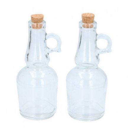 Olaj- és ecettároló üvegpalackok parafadugóval, 2 x 0,25 liter