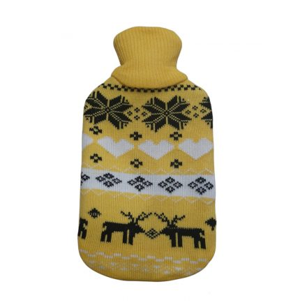 Melegvizes palack norvég mintás pulóverben 2 literes, sárga