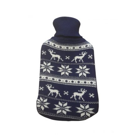 Melegvizes palack norvég mintás pulóverben, 2 literes, sötétkék