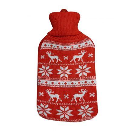Melegvizes palack norvég mintás pulóverben, 2 literes, piros-fehér