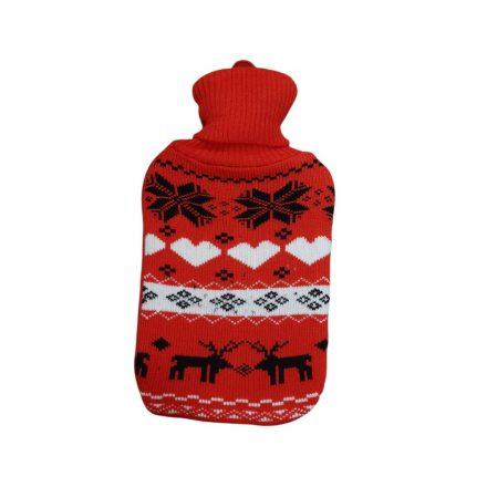 Melegvizes palack norvég mintás pulóverben, 2 literes, piros-fekete
