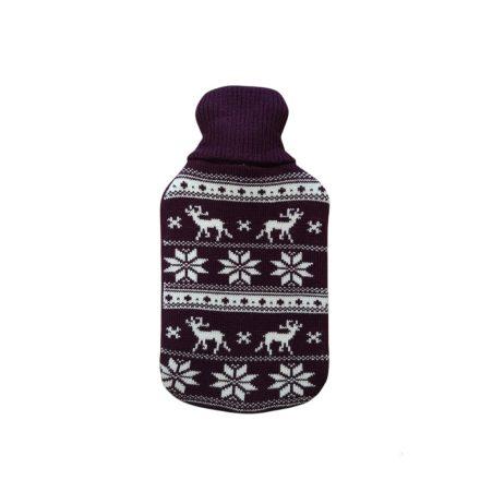 Melegvizes palack norvég mintás pulóverben, 2 literes, sötétlila