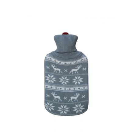 Melegvizes palack norvég mintás pulóverben 2 literes, szürke
