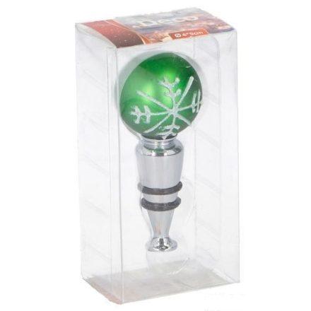 Karácsonyi üvegzáró dugó,  üvegből,  zöld színű