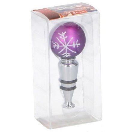Karácsonyi üvegzáró dugó,  üvegből,  lila színű