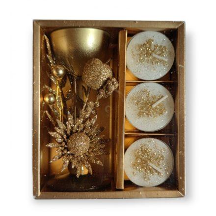 Karácsonyi gyertyatartó, kehelyformánú, üvegből, aranyszínű, 3 db mécsessel, díszdobozban