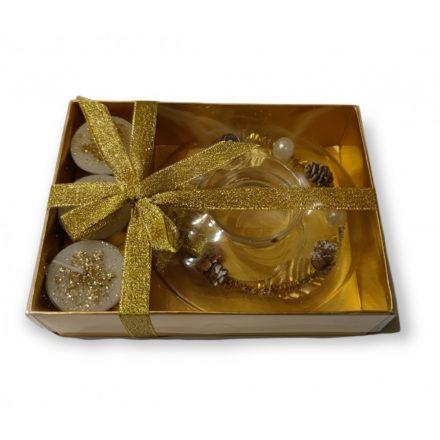 Karácsonyi mécsestartó üveggyűrű 11 cm,  3 db mécsessel, aranyszínű, díszdobozban