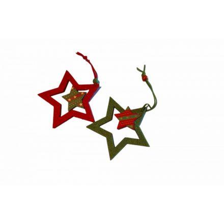 Karácsonyi függődísz csillag 2 db-os 9,5cm
