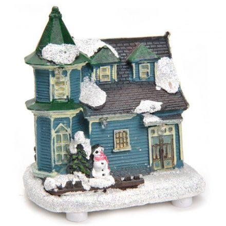 Karácsonyi világító házikó, 4 ledes, 9x6x9 cm, hóemberrel