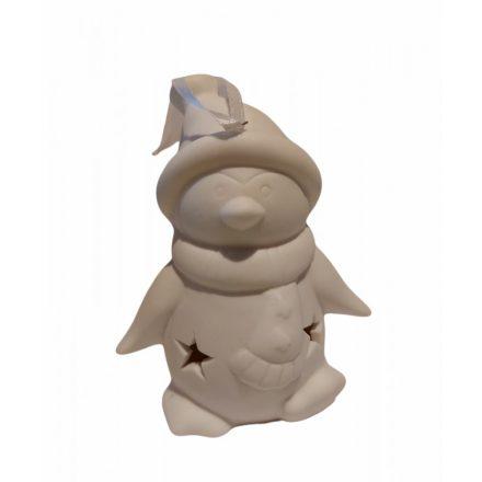Karácsonyi dekor figura, színváltós LED fénnyel, 5x10 cm porcelán Pingvin