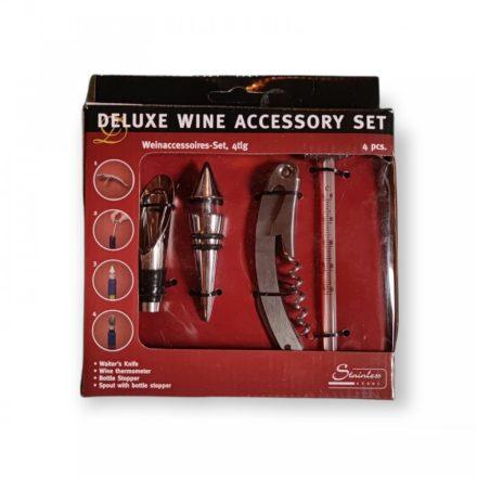 Bornyitó készlet 4 db (dugóhúzó késsel, hőmérő, kiöntő, dugó)