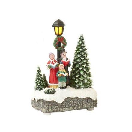 Karácsonyi téli jelenet ledes, világítós KÓRUS 12,5cm