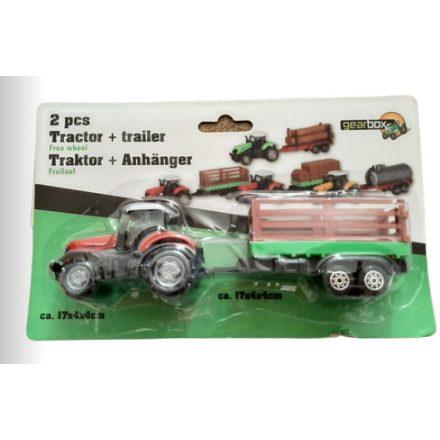 Traktor utánfutóval fém 17x4x4cm