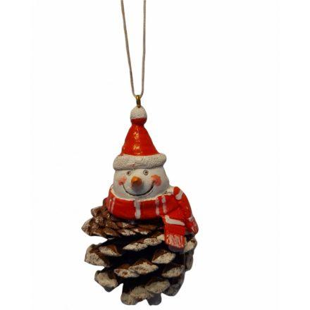 Karácsonyi függődísz toboz 5x5x6cm Hóember