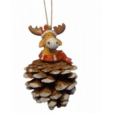 Karácsonyi függődísz toboz, 5x5x6cm, rénszavas