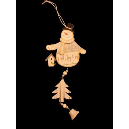 Karácsonyi függődísz 24cm szürke hóember