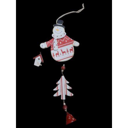 Karácsonyi függődísz 24cm piros hóember
