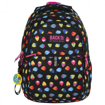 Színes epres BackUp ergonómikus hátizsák, iskolatáska