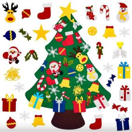 Filc karácsonyfa díszekkel